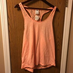 NWT PINK Layering racer back lace back tank